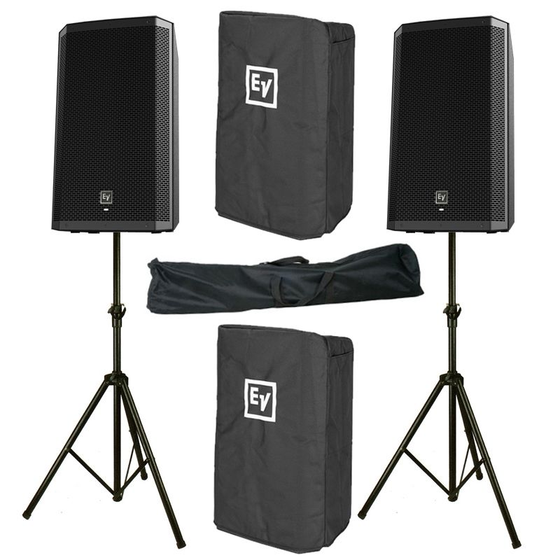 2x electro voice ev zlx 12p 2000w powered pa speaker stand cover 3yr warrant. Black Bedroom Furniture Sets. Home Design Ideas